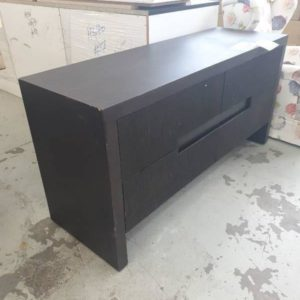 EX DISPLAY HOME FURNITURE - BROWN TIMBER CONSOLE SIDE TABLE SOLD AS IS
